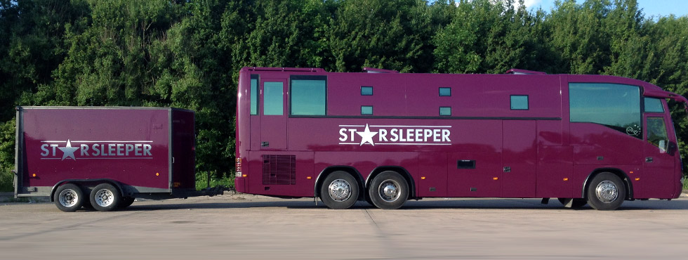 Starsleeper bus hire with trailer