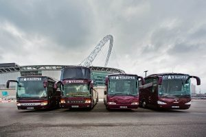 Tour buses at Wembley Stadium August 2015